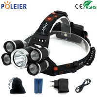5000 Lumens Rechargeable LED Headlamp 1T6 4XPE Head Flashlight Torch Cree Chip Xml T6 Headlight Waterproof