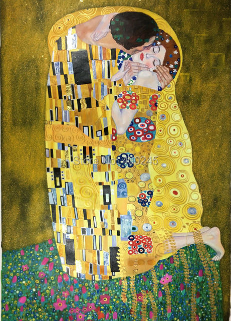 High Quality Gold Leaf On Canvas Famous Gustav Klimt Oil Painting