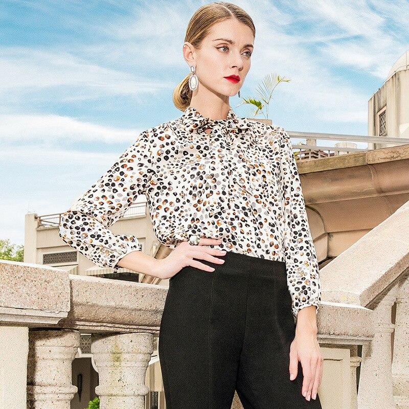 KAMIYING 2019 Trend Neue Frauen Hemd Schmetterling Kragen Temperament OL Stil Dünne Marke Leopard Print Casual Print Damen Hemd - 3