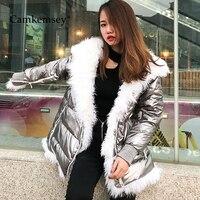 CamKemsey/зимние пальто с капюшоном и натуральным мехом для женщин, 2019 уличная молния, толстый пуховик с хлопковой подкладкой, цвета металлик, се