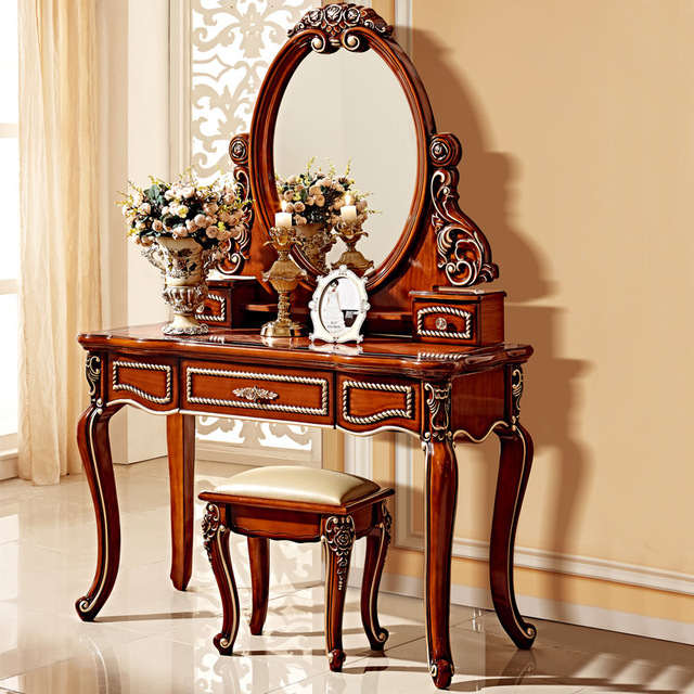 American Carved Dressing Table Mirror Bedroom Dresser Stool Cosmetic
