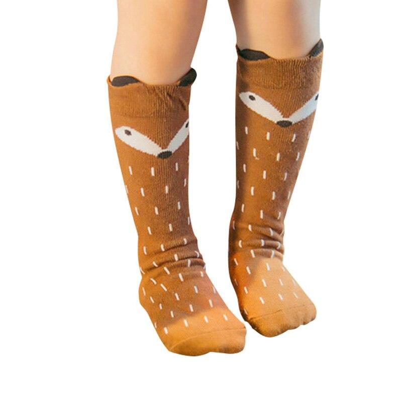 1 Pair Unisex Lovely Cute Cartoon Fox Kids Baby Socks Knee Girl Boy Baby Toddler Socks Animal Infant Soft Cotton Long Socks 0-3Y