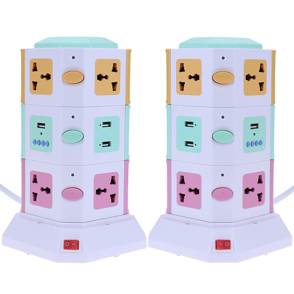 3 Layer Smart Electrical Plug EK UE Vertical Power Socket Outlet+2 USB Ports Tower Surge Protector Power Strip Power Socket 16 ports multi function vertical secure socket
