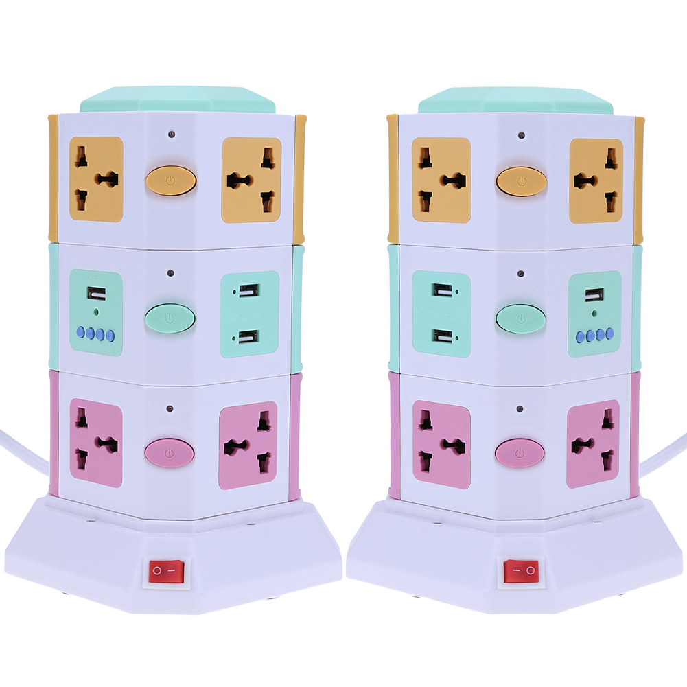 3 Layer Smart Electrical Plug UK EU Vertical Power Socket Outlet+2 USB Ports Tower Surge Protector Power Strip Power Sockets