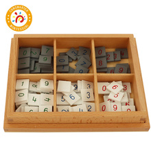 Baby Toy Montessori Material Wooden Math Number Tiles Child Calculation Kid