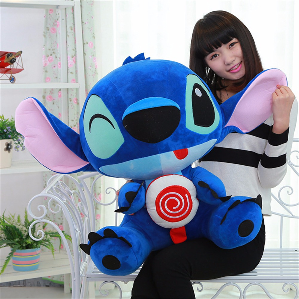 1pc Big Size Plush Cartoon Cute Creative Lollipop Blink Stitch Stuffed Doll Brinquedos Toys Baby Soft Pillow Kids Birthday Gifts