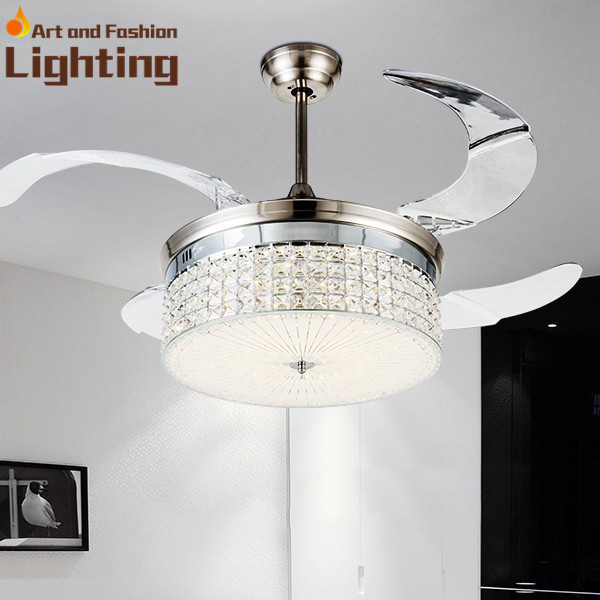 Invisible Fan Blades Crystal Ceiling Light Dimmer 4 Colors Remote Control Led With