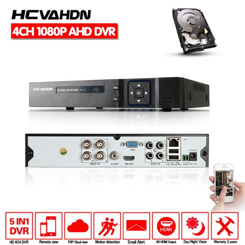 HCVAHDN 5 IN 1 DVR 4 Channel 4CH 1080P 720P AHD DVR 2MP NVR AHD H