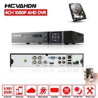 Hcvahdn 5 in 1 dvr 4 채널 4ch 1080 p 720 p ahd dvr 2mp nvr AHD-H dvr hdmi 1080 p 4ch 오디오 입력 다국어 이메일 알람