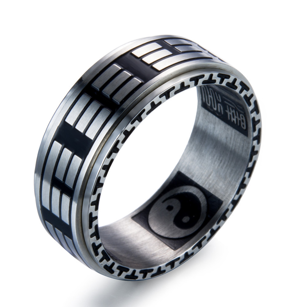 Tai Chi Bagua Stainless Steel Ring Men Jewelry Fine jewelry Couple Lovers Gift Thai Silver Chinese duct to teach Vintage Style