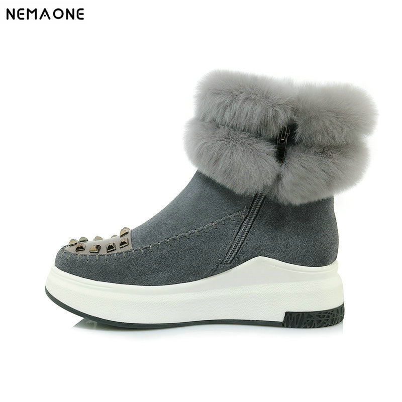 NemaoNe Women Winter Warm Boots Antiskid Outsole Lady Snow Boots Brand Fashion Style Easy Wear Hairy Ankle Boots PlusNemaoNe Women Winter Warm Boots Antiskid Outsole Lady Snow Boots Brand Fashion Style Easy Wear Hairy Ankle Boots Plus