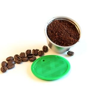 Image 1 - 다시 채울 수있는 커피 필터 스테인레스 스틸 재사용 가능한 커피 캡슐 세트 스쿠프 브러시 스트레이너 맛 달콤한 Nescafe Dolce Gusto