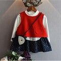 Novo 2017 moda infantil agasalho outono conjunto bebê colete + patchwork dress 2 pcs maca meninas roupas define crianças roupas ternos
