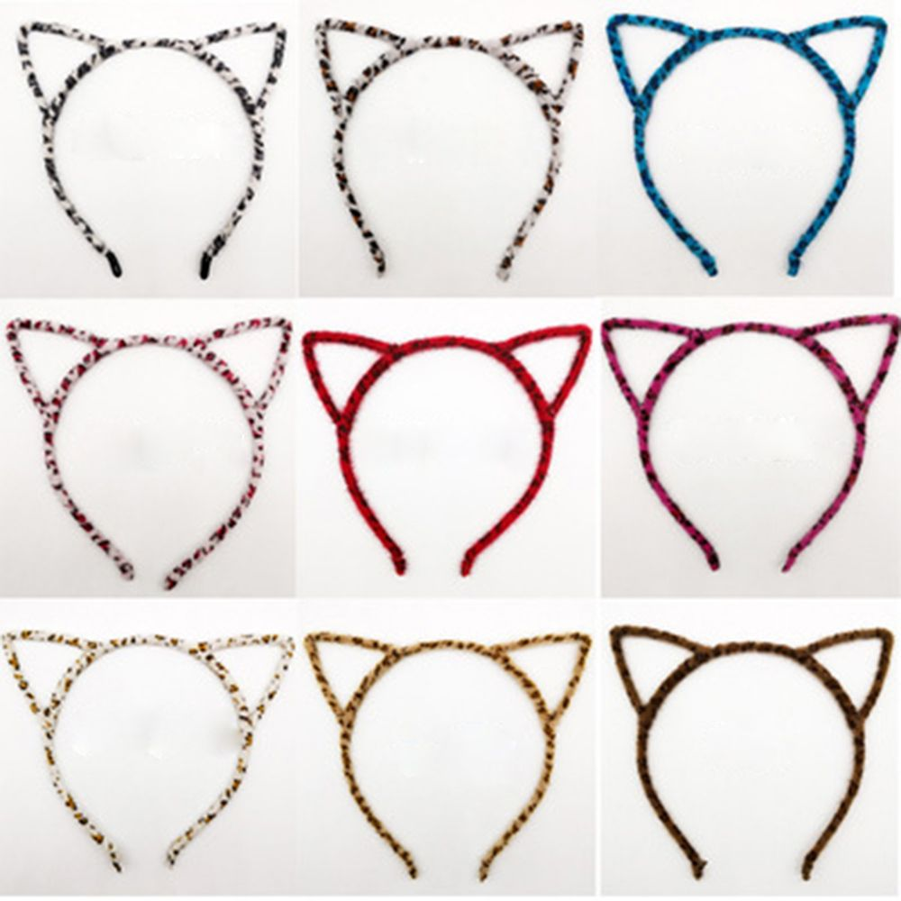 Fashion <font><b>Cute</b></font> Cat Kitty Kitten Ear Metal Hairband <font><b>Sexy</b></font> Self Headband Velvet Leopard Hair Band <font><b>Cosplay</b></font> Party Gift Hair Accessories image