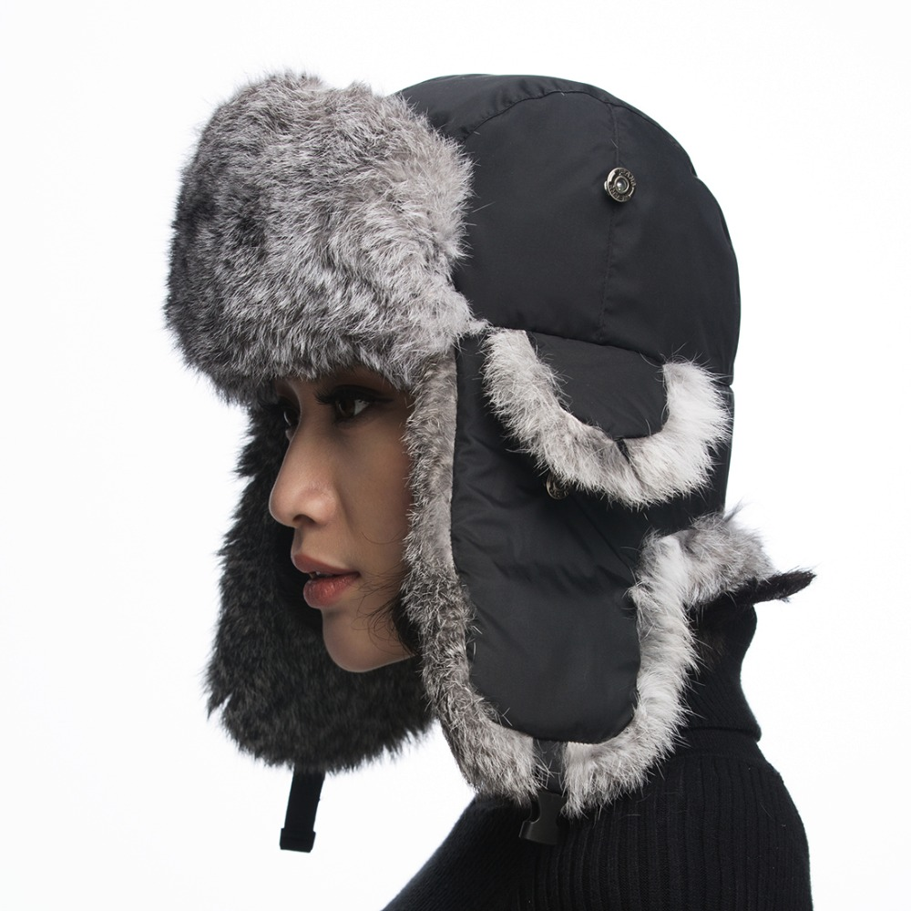 URSFUR Ushanka Hats for Women with Real Rabbit Fur Cap Ladies Russian  Trapper Caps Ear Flap Aviator Hat Gift-in Bomber Hats from Apparel  Accessories on ... 7422f32b234