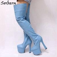 Sorbern Небесно Голубой матовые сапоги до бедра для Для женщин Коренастый супер на высоком каблуке 9 см обувь на платформе Для женщин пользоват