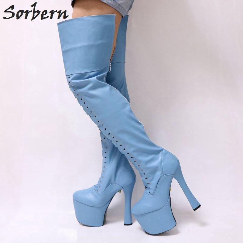 Sorbern Light Sky Blue Matt Thigh High Boots For Women Chunky Super High Heeled 9Cm Platforms Shoes Women Custom Leg Size Boots epiphone ltd matt heafy signature les paul custom ebony