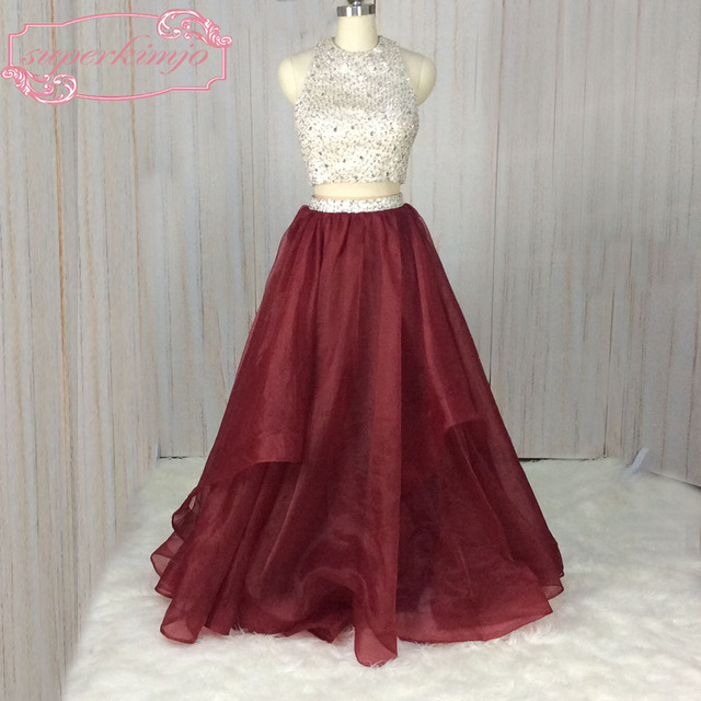 SuperKimJo Halter Prom Dresses with Rhinestones 2 Piece Prom Dresses Long Burgundy Sexy Formal Dresses Vestido De Festa