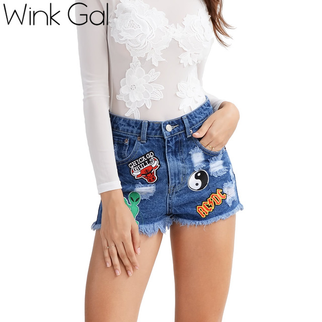 Wink Gal Vintage ripped fringe blue denim shorts women Casual pocket jeans shorts patchwork high waist shorts jeans W10803