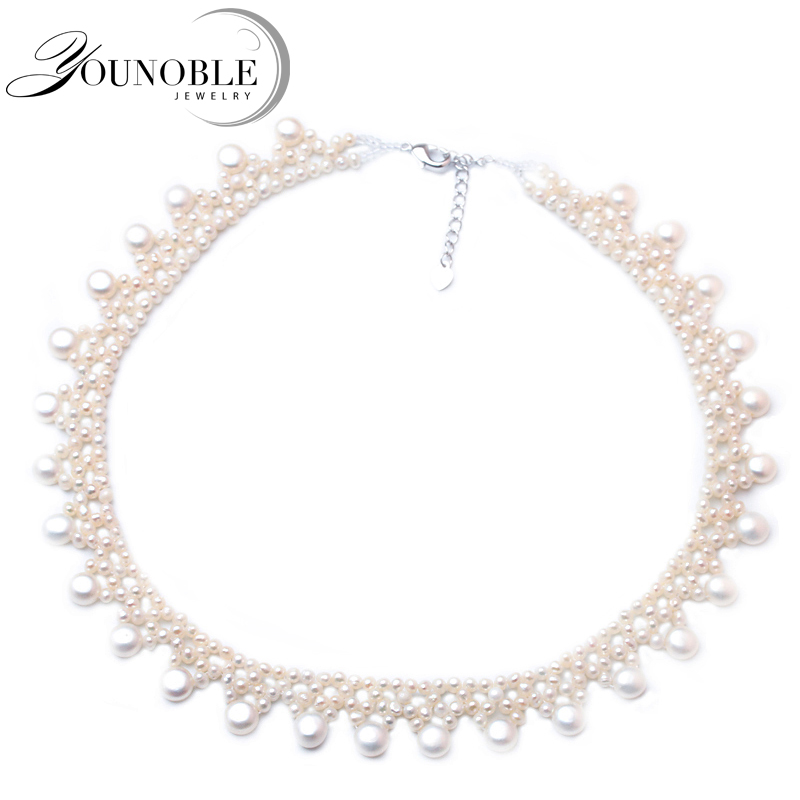 Bohemia Multi layer Necklace Natural Freshwater White Pearl Choker Necklace Fine Jewelry for Mother's Day Girl Birthday Gifts chran new fashion luxury vintage style jewellery multi layer string twist faux pearl choker necklaces&pendants gifts