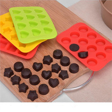 TTLIFE 12 Grid Silicone Chocolate Mold Tray Creative Star/Heart/Round/Square Shaped Ice Cube Cake Deco DIY Color Random