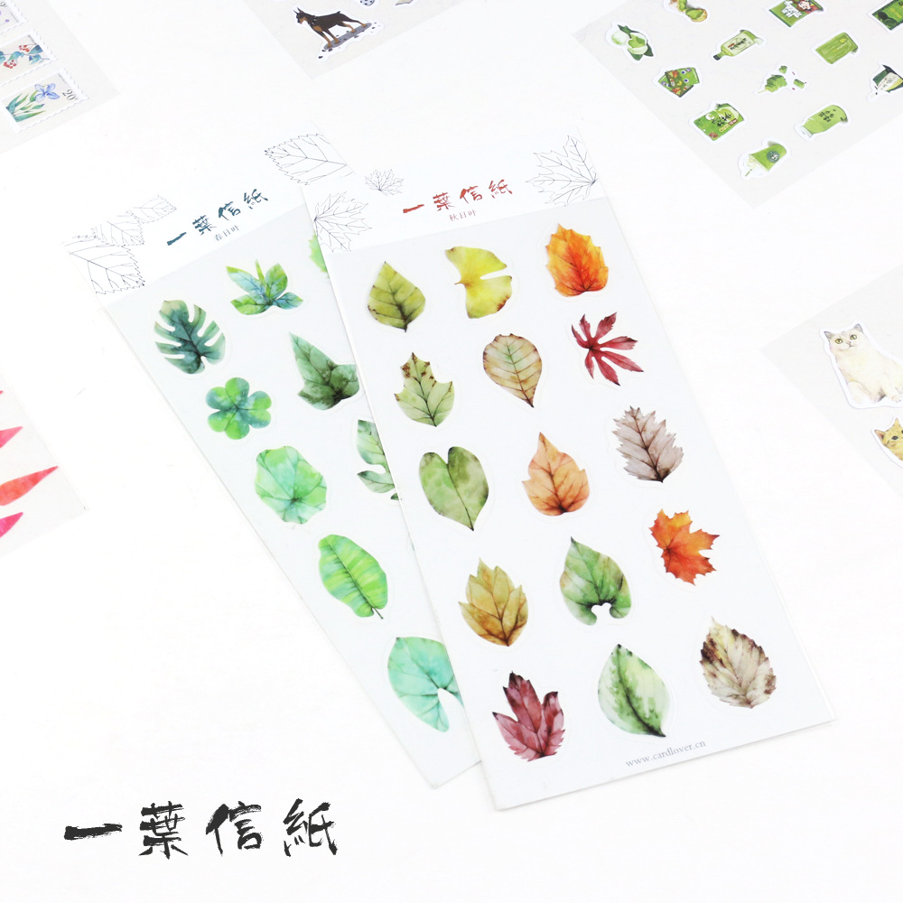 2 Style Cute Mini Autumn And Spring Leaves Pvc Transparent Korean Stickers Papers Flakes Kids Decorative For Cards Stationery m style шкатулка leaves big