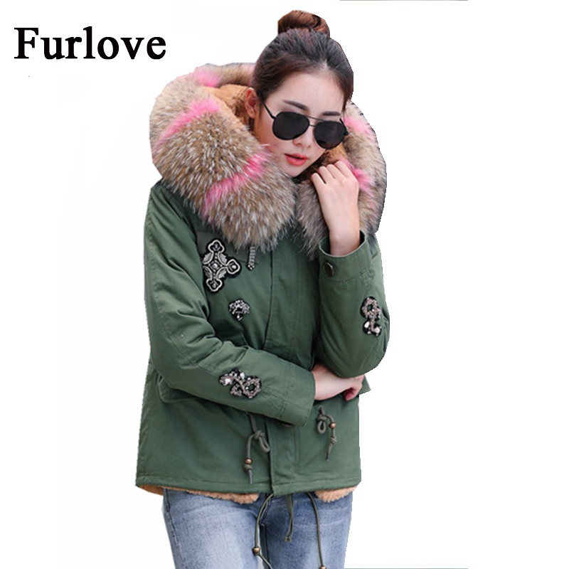 Winter Coat Women 2017 New Jacket Fashion Casual Jackets Real Raccoon Fur Collar Hooded Coats Army Green Parka Thick Warm Parkas 2017 winter new clothes to overcome the coat of women in the long reed rabbit hair fur fur coat fox raccoon fur collar