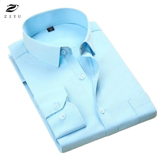 ZIYU Brand Clothing New Men Shirt Cotton Long Sleeve Shirts Slim Fit High Quality Spring Autumn Business Social Shirt HBL020