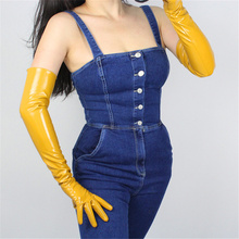Patent Leather Gloves 60cm Long Section Elbow Simulation PU Bright Ginger Yellow QPJH07