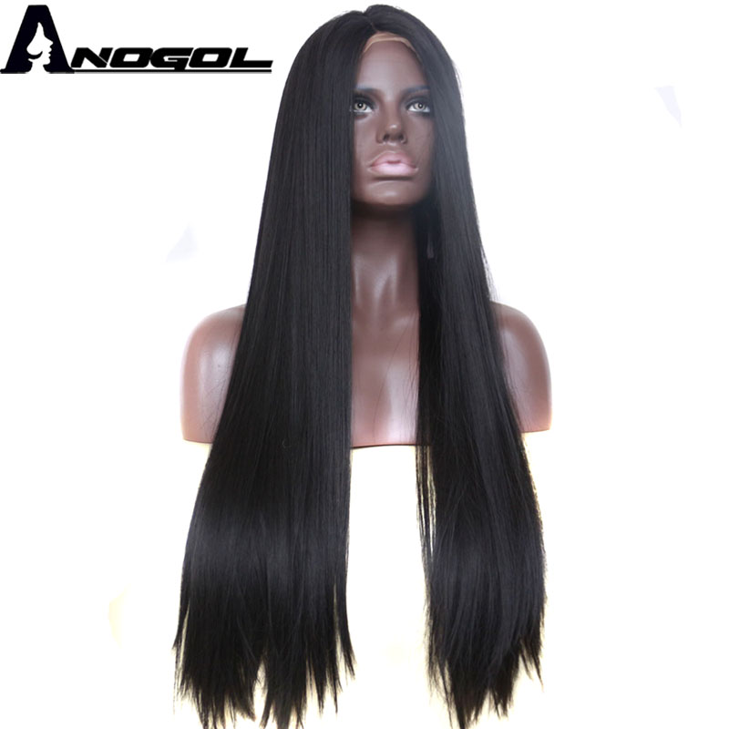 Anogol 1B Black High Temperature Fiber Hair Wigs Middle Part Long Straight Synthetic Lace Front Wig