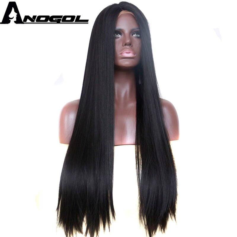 Anogol 1B черный высокое температура волокно волос Искусственные парики средняя часть длинные прямые синтетические волосы на кружеве