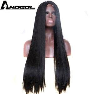 Pelucas Anogol 1B de pelo de fibra de alta temperatura negro, peluca con malla frontal sintética recta y larga para mujeres afroamericanas