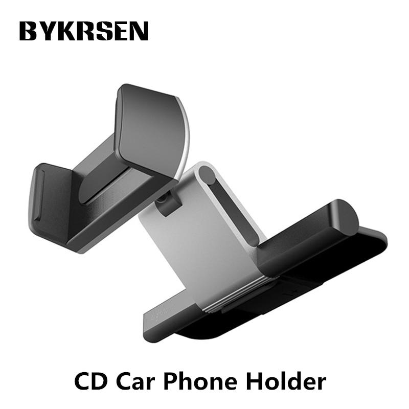 2018 BYKRSEN 360 Rotating Universal Car CD Slot Mobile Phone Holder Mount 3.5-5.5 inch Phone Holder For Iphone 7 8 Xiaomi Phone