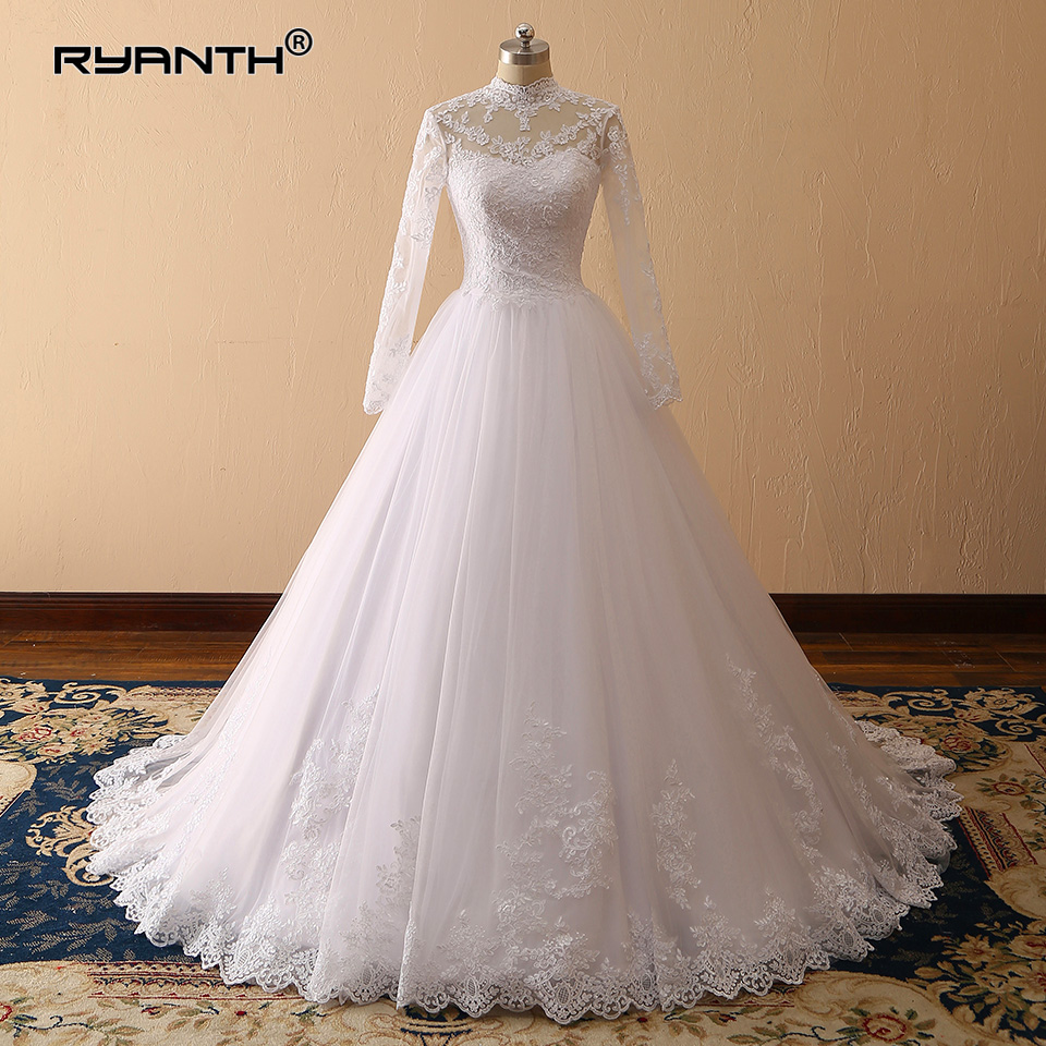 New Arrival High Neck Robe de mariage 2019 Cheap Vestido De Noiva Custom Made Long Sleeves Ball Gown Wedding Dress Bridal Gowns