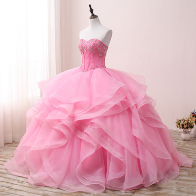 Sweetheart Neck Vintage Ruffles Ball Gown Quinceanera Gown 2018 Beaded Sequined Crystals Ruffers Pink For 15 Year Plus Size in Quinceanera Dresses from Weddings Events