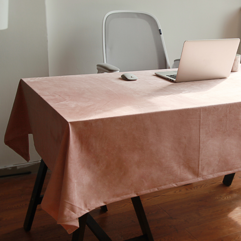 Exquisite Dark Pink Velvet Table Cloth For Computer Dinner Dresser Home Decor Table Cover Quality 3 Colors Not Ball Tablecloth image