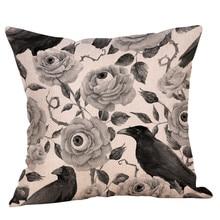 Halloween Throw Pillow Case Vintage Cuervo impreso funda decorativa para funda de almohada para cojín del asiento del sofá 45x45cm decoración del hogar