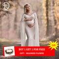 Largo de manga completa vestido de maternidad foto disparar suave de algodón Maxi vestido de maternidad Sexy accesorios de fotografía de maternidad bebé ducha regalo