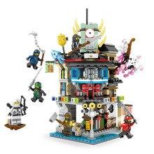 Legoinglys Ninjago Ninja Movie Sky City Headquarters 700pcs+ Bricks Ninja City Temple Model Building Blocks Toys Children