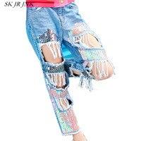 Для женщин Весна джинсовые штаны модные длинные осень Повседневное вышивка кисточкой Блестки отверстие Жан свободные Высокая талия широки