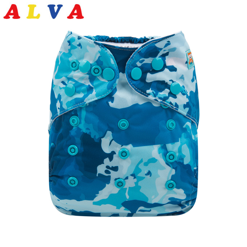 Insert ALVA Baby Cloth Diaper Double-gussets With Colored Snaps Pocket Nappy