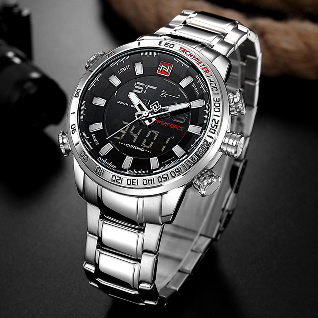 NAVIFORCE Brand Men Military Sport Watches Mens LED Analog Digital Watch Male Army Stainless Quartz Clock With Box Set For Sale