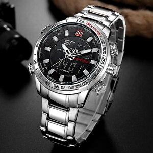 Image 3 - NAVIFORCE montres de Sport militaire pour hommes LED, montre numérique analogique de larmée inoxydable, horloge à Quartz avec boîte, pour la vente