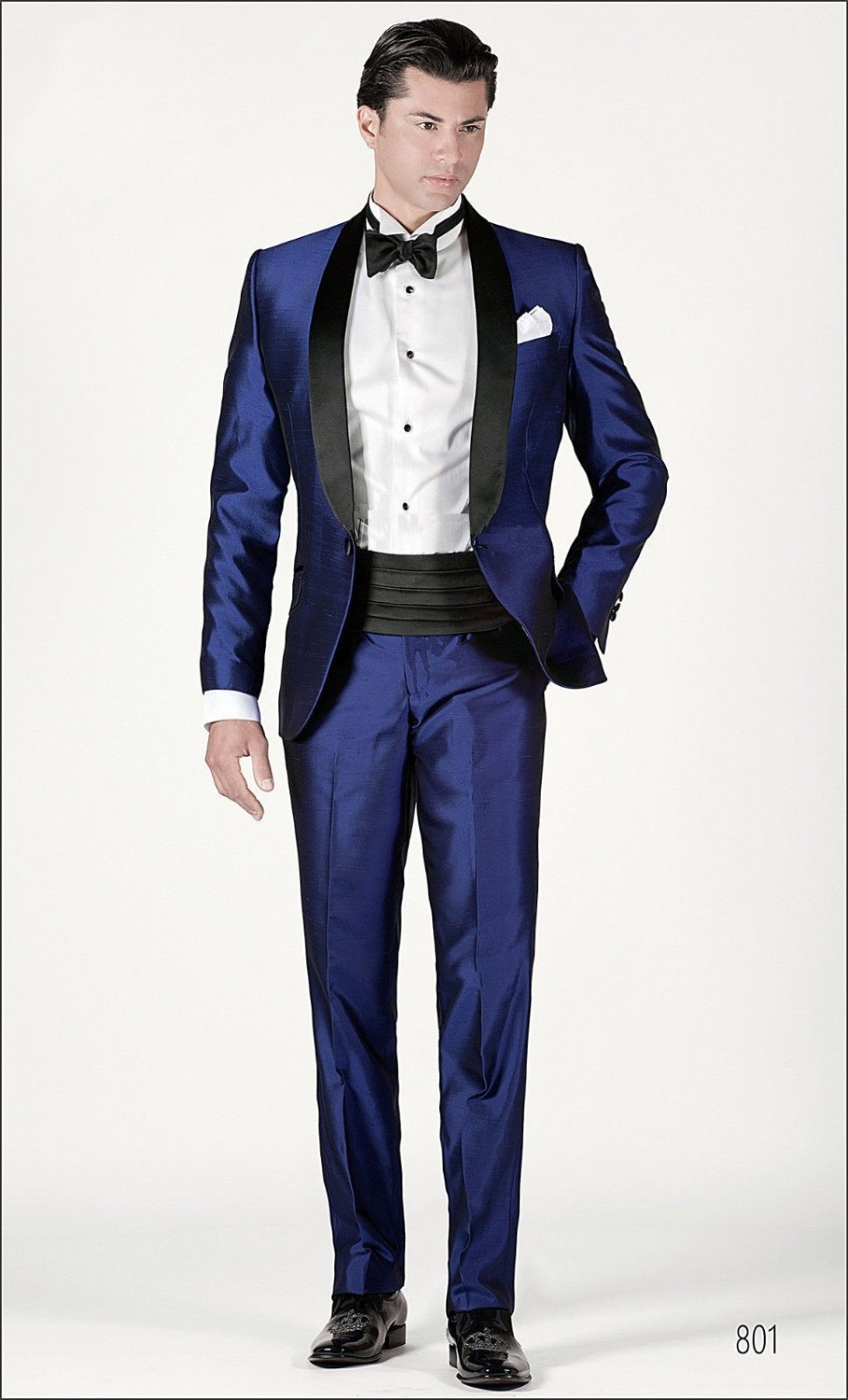 Tuxedo For Wedding Suits Shiny Blue For Men Groom Wear 2019 Custom Made Stain
