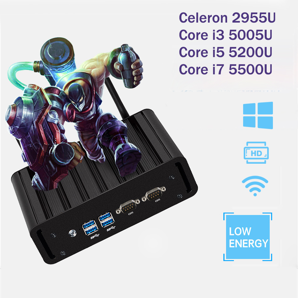 Dual LAN Mini PC Gagibat Ethernet Mini Computer Core i3 5005U i5 5200U i7 5500U Celeron 2955U Windows 10 Desktop NUC 2*COM HDMI