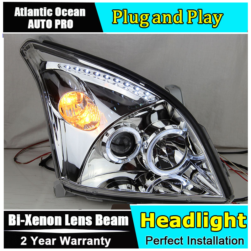 Auto.Pro Car Styling for Toyota Prado LED Headlights 2003-2009 Prado LED DRL Lens Double Beam HID KIT Xenon bi xenon lens hireno headlamp for 2003 2009 toyota land cruiser prado headlight assembly led drl angel lens double beam hid xenon 2pcs