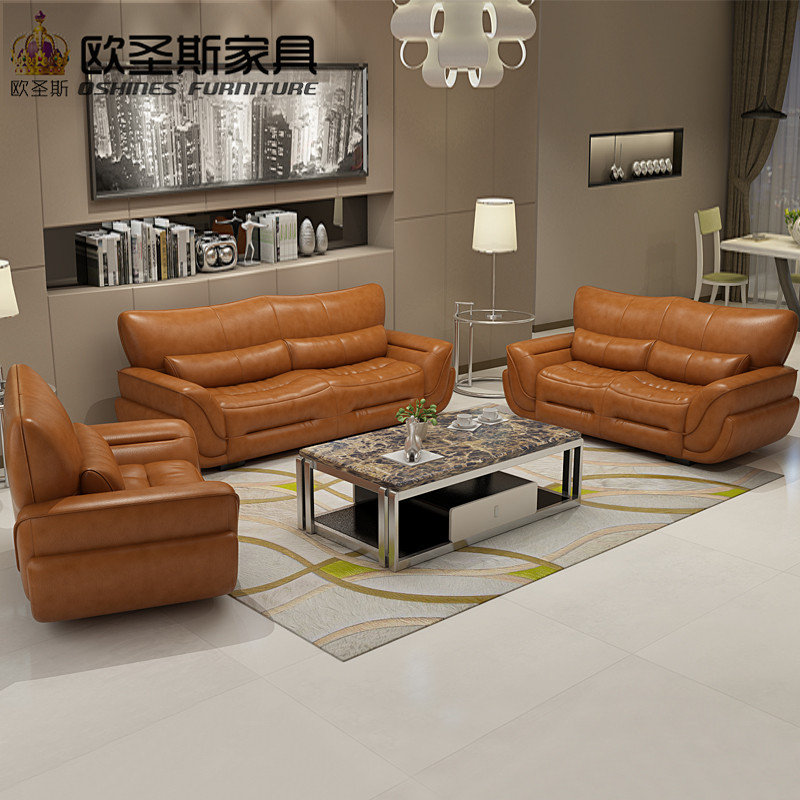 Living Room With Leather Sofa: 2019 New Design Italy Modern Leather Sofa Soft Comfortable Livingroom Genuine Leather Sofa Real
