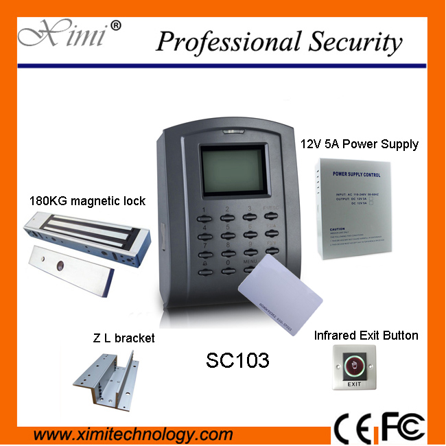 Good quality SC103 ID card access control system with power supply, magnetic lock ,infrared exit button,bracket