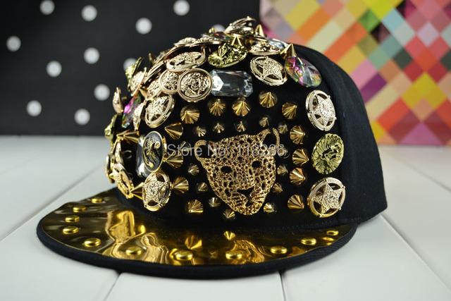 Moda borda plana pontas rebite Snapback Bigbang Jazz Cap chapéu de hip-hop Leopard cabeça Punk Cap esportes Cap Gorras