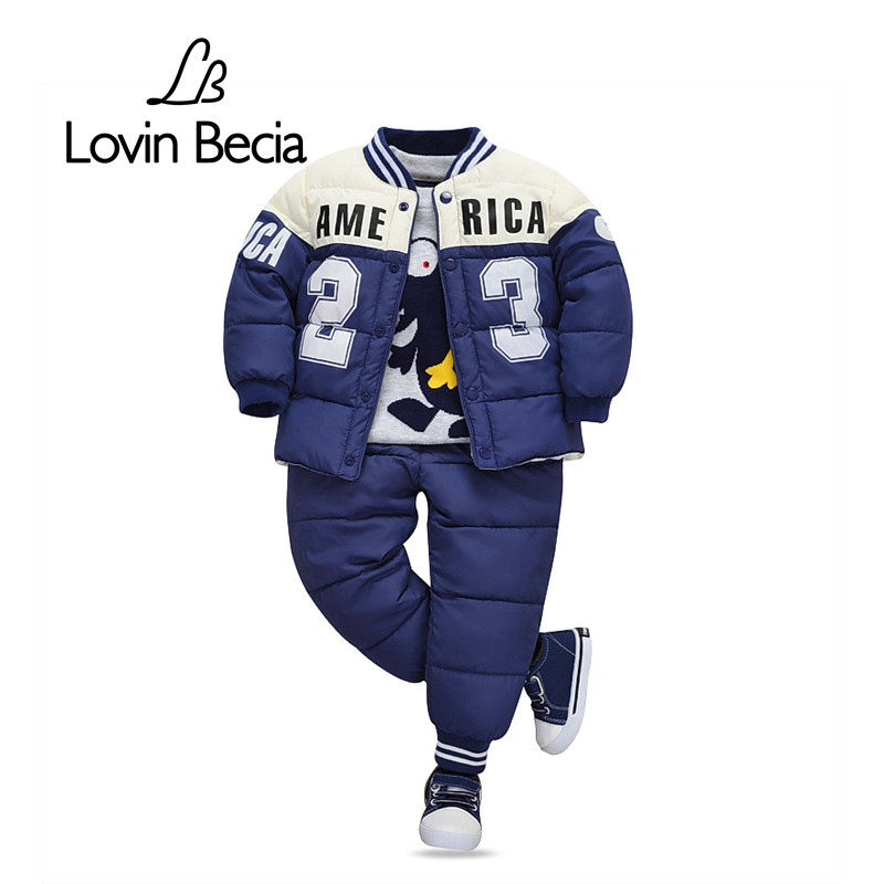 Lovinbecia Children Set Boys Clothing sets Winter cotton Fashion Down Jacket + Trousers kids Waterproof Warm Parkas Clothes suit 2016 winter boys ski suit set children s snowsuit for baby girl snow overalls ntural fur down jackets trousers clothing sets